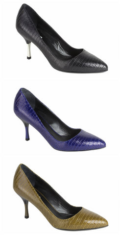 MAX MARA Women's Dinda Reptile Embossed Leather Pumps $530 NEW