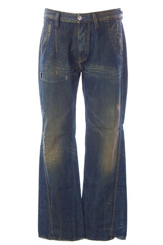 BLUE BLOOD Men's Don WW Distressed Denim Button Fly Jeans MFOFW0618 $250 NWT