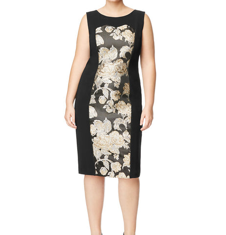 MARINA RINALDI Women's Black Dorico Metallic Floral Dress $895 NWT