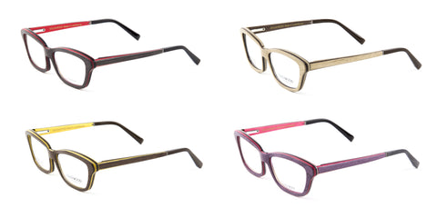 Gold & Wood Ecla Semi-Cateye Eyeglass Frames 53mm $789 NEW