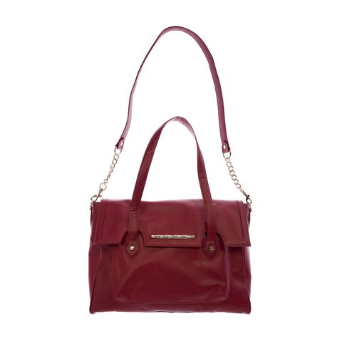 ELAINE TURNER Women's Red Stamped Leather Aubrey Satchel Bag $595 NWT
