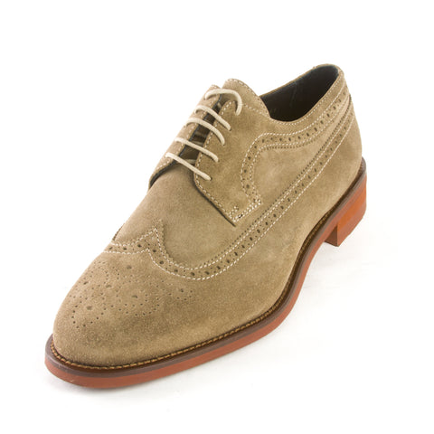 J. LINDEBERG Men's Beige Eng Brogue Italian Suede Oxfords $495 NIB