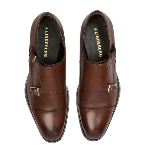 J. LINDEBERG Men's Dark Brown Eng Double Monk Italian Calf Shoes $395 NWOB