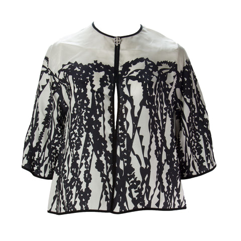MARINA RINALDI Women's White/Black Fashion Printed Jacket $1170 NWT