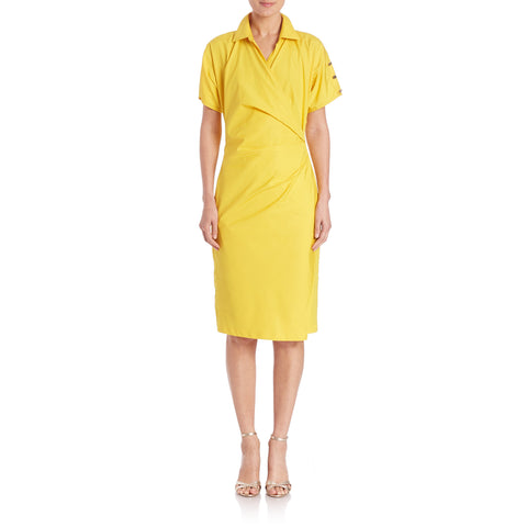 MAX MARA Women's Fred Yellow Ruched Cotton Poplin Dress $850 NWT