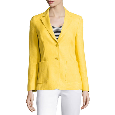 MAX MARA Women's Gallia Yellow Linen Two-Button Blazer $1,090 NWT