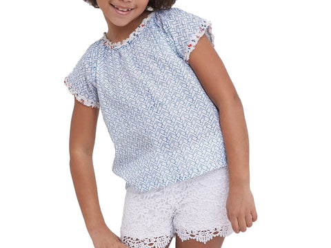 ROBERTA ROLLER RABBIT Girls Blue/Rose Aleph Aoi Top 6 Years $35 NEW