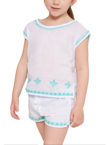 ROBERTA ROLLER RABBIT Little Girls White & Aqua Ellie Set 2 Years $65 NEW
