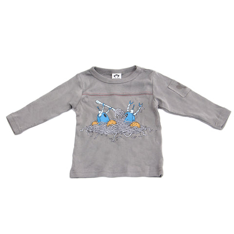 APPAMAN Baby Boys' Grey Long Sleeve Robot Dinner Tee $34 NWT