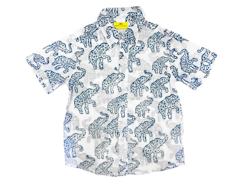 ROBERTA ROLLER RABBIT Boy's Blue Hathiphool Leo Shirt $50 NEW