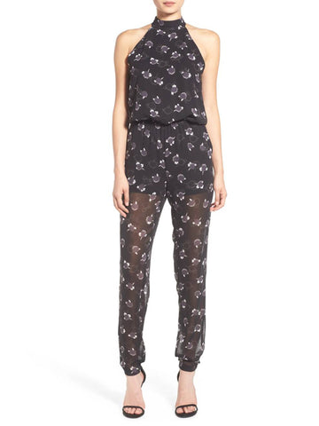 REBECCA MINKOFF Women's Black Multi High Neck Hayley Jumpsuit $328 NWT