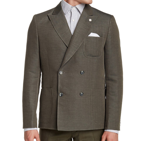 J. LINDEBERG Men's Military Green Hopper Two Tone Herring Blazer Sz 48L $695 NWT