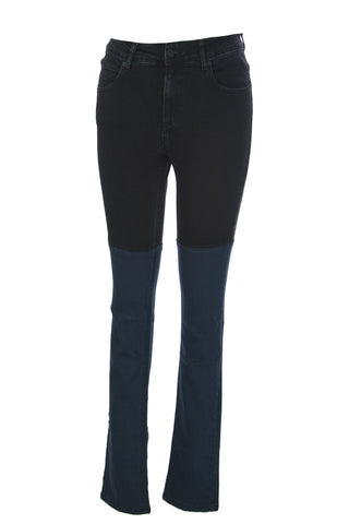SURFACE TO AIR Women's Black + Blue Horizontal Super Skinny Jeans $245 NEW