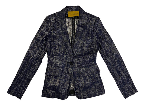 HANLEY MELLON Women's Metallic Navy Jacquard Blazer $695 NEW