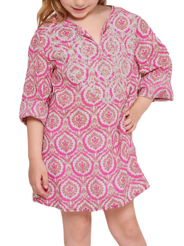 ROBERTA ROLLER RABBIT Little Girls Pink Medallion Shaula Kurta 2 Years $70 NEW