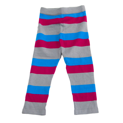 APPAMAN Little Girls' Grey/Pink/Blue Striped Knit Leggings $38 NWT