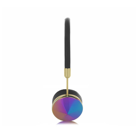 Frends Layla Black Leather On-Ear Headphones - Gold/Oil Slick