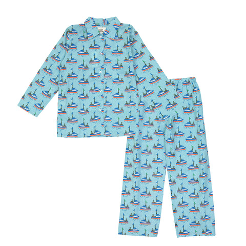 LE PETIT LUCAS DUTERTRE Boy's Blue Boats Cotton PJ Set $64 NWT