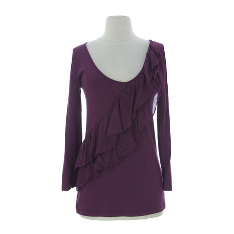 VELVET by Graham & Spencer Women's Plum Long Sleeve Tiered Detail Top S $88 NEW