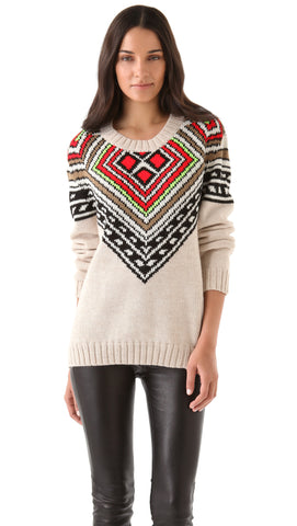 MARA HOFFMAN Multi Intarsia Pullover Sweater 8146 $473 NEW