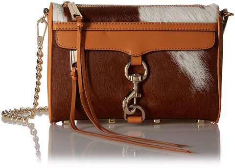 REBECCA MINKOFF Sand Calf Hair Mini MAC Clutch Bag $245 NEW
