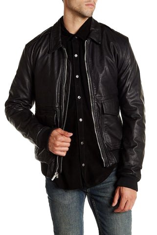 BLK DNM Men's Black Leather Jacket 80 Moto Jacket MKL11902 Small $1095 NWOT