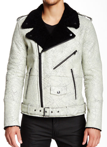 BLK DNM Men's Black/White Genuine Shearling Leather Jacket Medium $2495 NWT