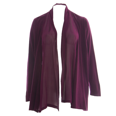 MARINA RINALDI Women's Purple Magda Partial Sheer Cardigan $540 NWT
