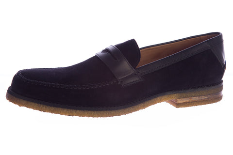 JOHN VARVATOS Men's Black Suede Monaco Crepe Penny Loafers F2048P2 $498 NEW