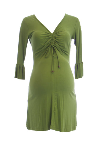 OLIAN Maternity Women's Green Ruched Front Accent Mini Dress XS $125 NWT