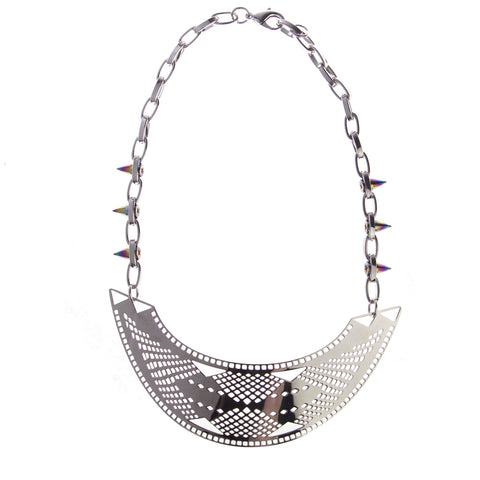 b7fe7e31ba JOOMI LIM Modern Tribe Silver Bib Necklace - Rainbow Spikes on Chain  342  NEW