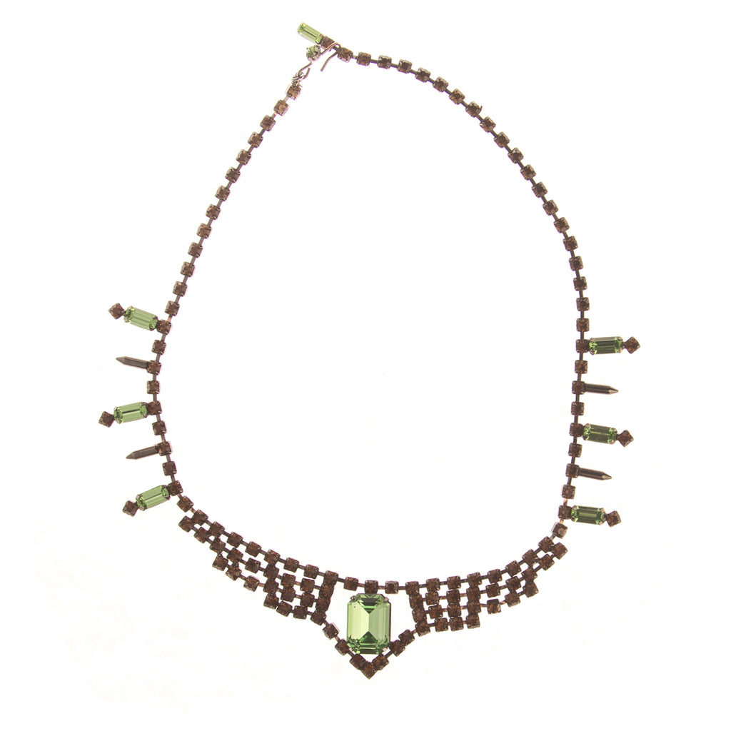 Joomi Lim Orange/Green Crystal Necklace $376 NEW