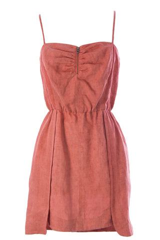REBECCA MINKOFF Women's Nitanita Burnt Orange Linen Sun Dress Sz 4 $228 NWT