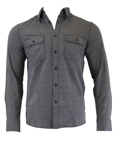 NORDSTROM Men's Shop Grey Castlerock Chambray Button Down Shirt Size M $99 NWT