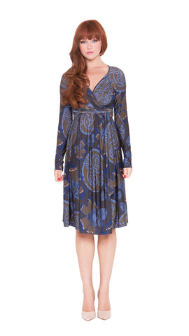 OLIAN Maternity Women's Blue Olive Abstract Print Self Tie Wrap Dress $148 NWT
