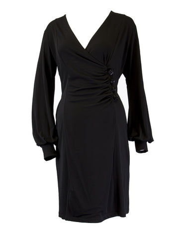 OLIAN Maternity Women's Black V-Neck Beaded Button Dress Size Large $148 NWT
