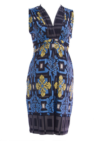 OLIAN Maternity Women's Blue Floral Print Plunging V-Neck Dress $143 NWT