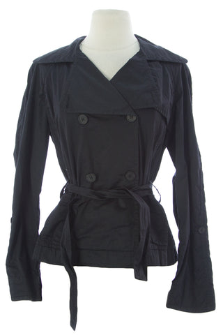 ADD Women's Black Belted Double Breasted Jacket OAW347 $250 NEW
