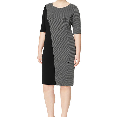MARINA RINALDI Women's Black Olio Colorblock Dress $435 NWT
