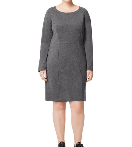 MARINA RINALDI Women's Grey Olivetta Sheath Jersey Dress $380 NWT