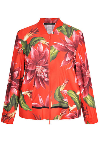 MARINA RINALDI Women's Orange Onirico Floral Zip Jacket $875 NWT