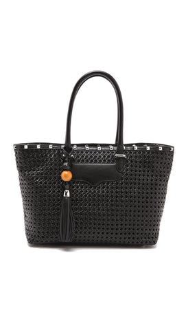 REBECCA MINKOFF Black Woven Perfection Tote Hand Bag $495 NEW