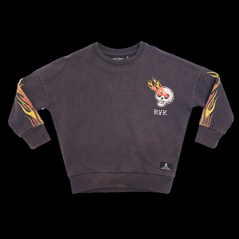 ROCK YOUR KID Boy's Charcoal Karma to Burn Sweatshirt $70 NWT