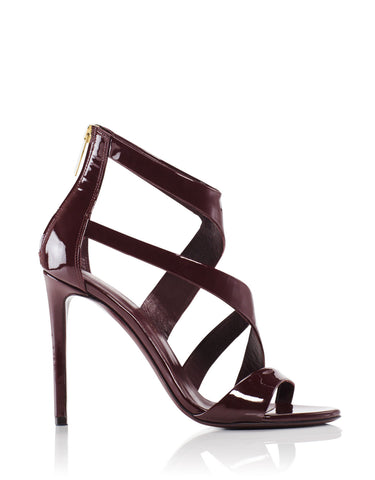 Tamara Mellon Tiger Burgundy Patent Sandals 105MM Heels $795 NEW