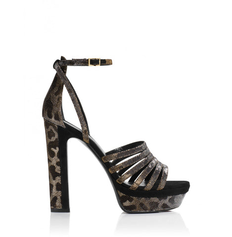 Tamara Mellon Supreme Suede Leopard/Black Sandals 105MM Heels $895