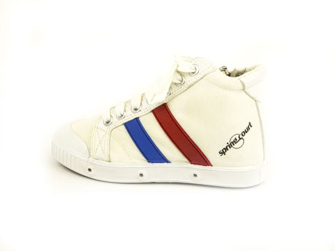 SPRING COURT Little Boys White Red Blue  BE1 Zip Vintage Shoes
