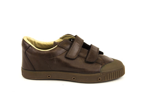SPRING COURT Little Kid Boys Brown Leather GE1 Clay Shoes Sz US 2/ EU 33