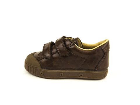SPRING COURT Toddler Boys Brown Leather GE1 Clay Shoes Sz US 8/ EU 24
