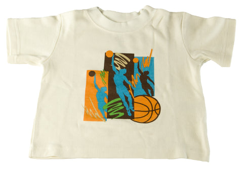SARA'S PRINTS Toddler Boy's Cream Basketball Pajama Shirt SP510 $18 NEW