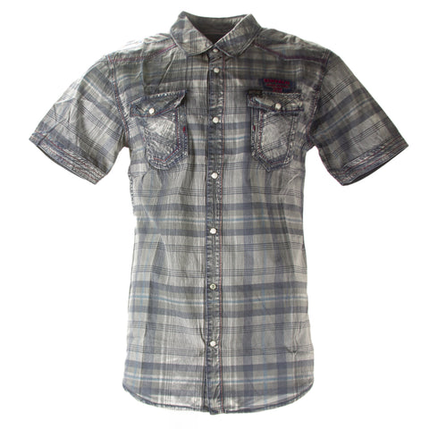 Buffalo David Bitton Men's Petrol Plaid Steddy Button-up Shirt BPM11891 $74 NEW